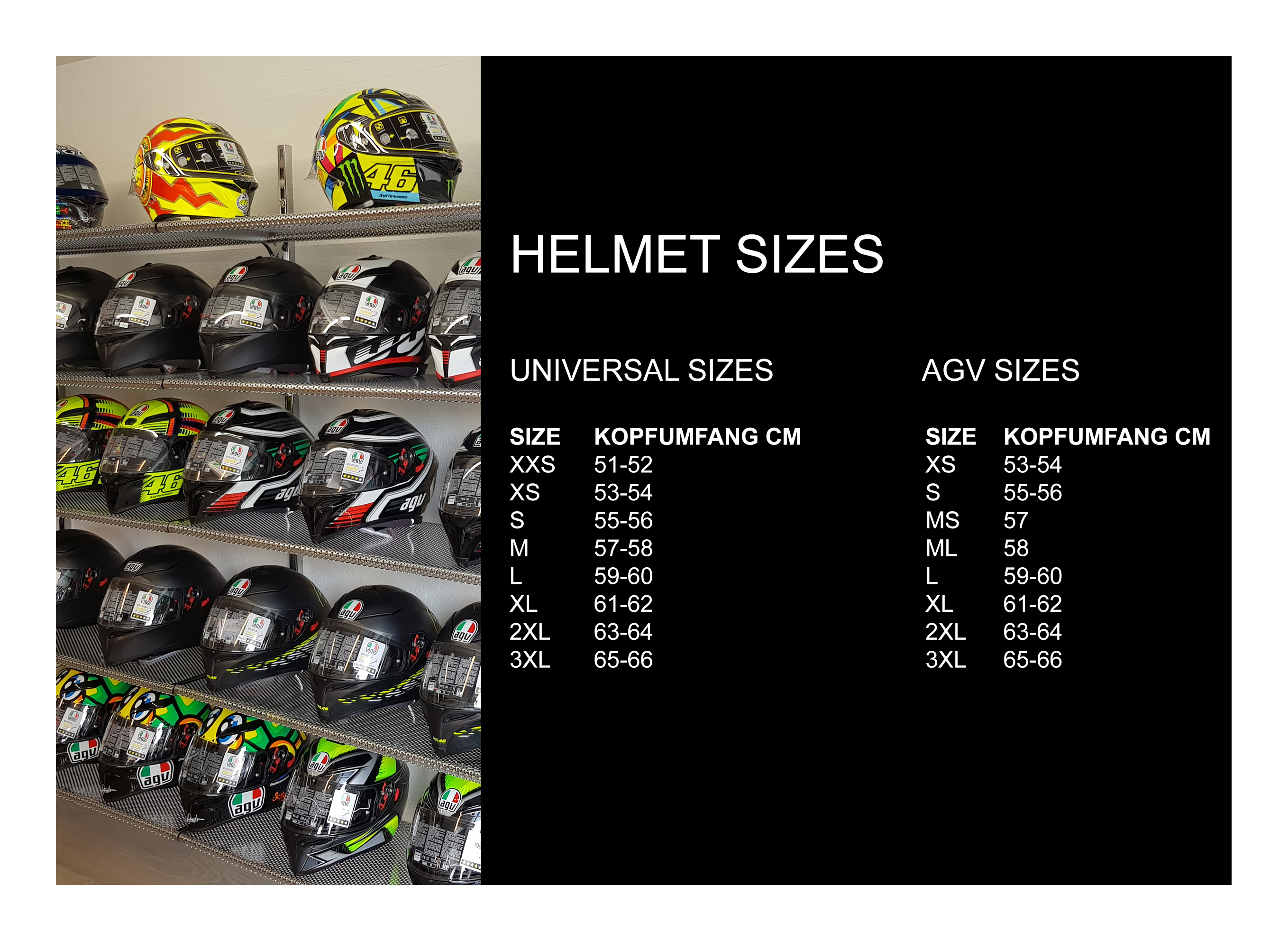 helmet sizes