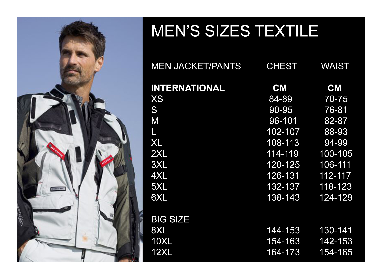 Men's sizes textile