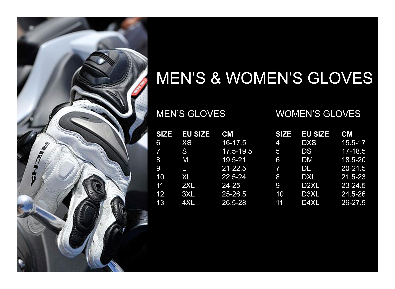 Men's & Women's Gloves sizes