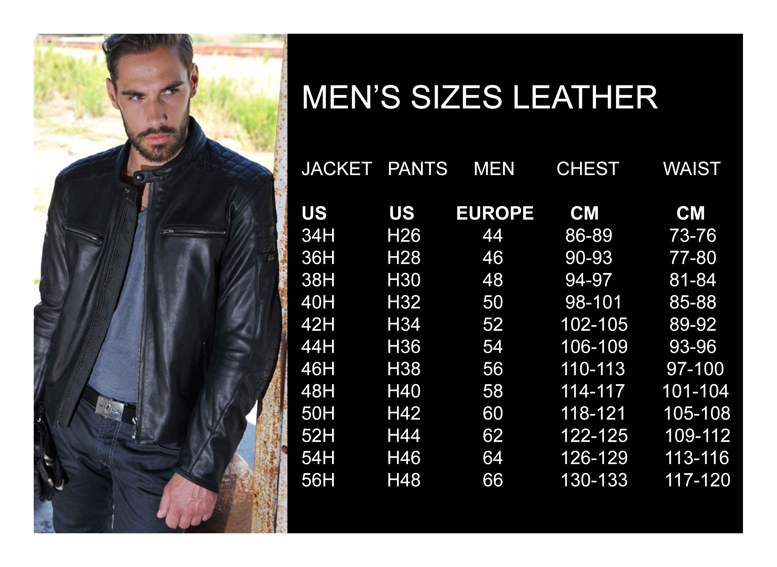 Men's sizes leather