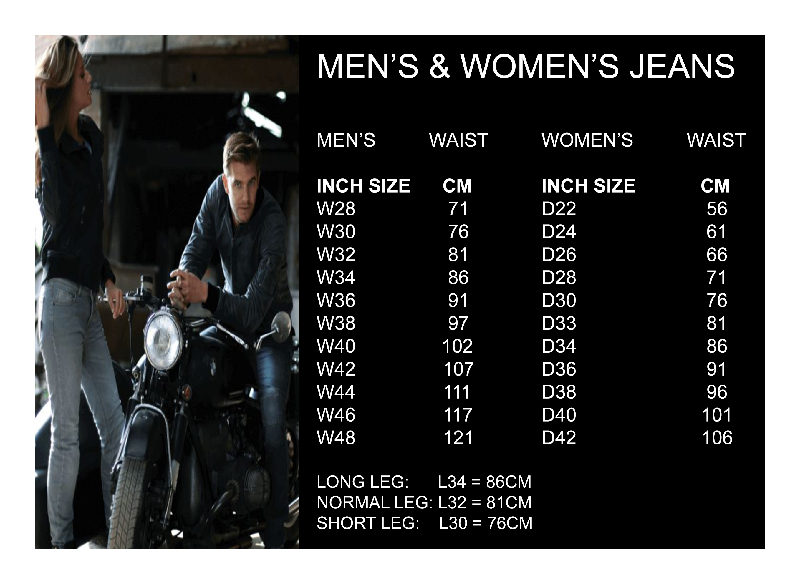 Men's & Women's Jeans sizes