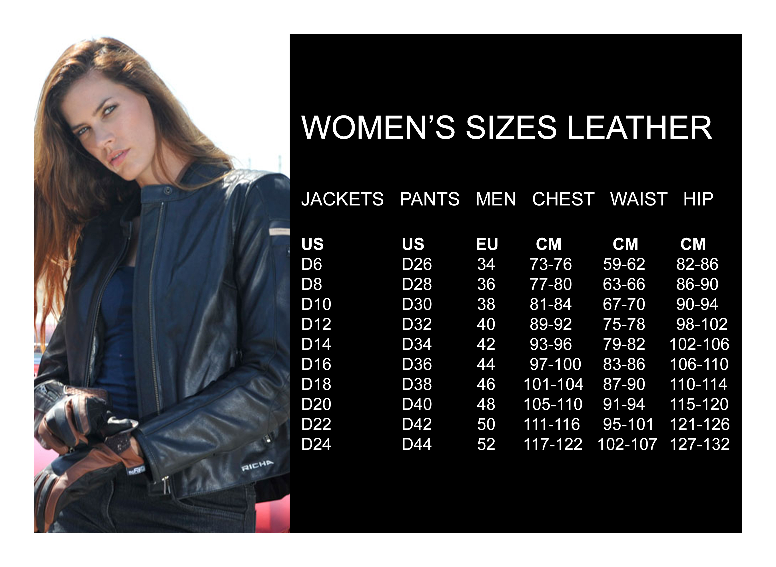 Women's sizes leather