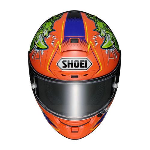 racepoint_Shoei X-Spirit III_Power Rush TC-8 orange-grün-violett_Motorradhelm